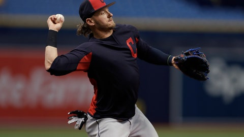 <p>               Cleveland Indians third baseman Josh Donaldson takes infield practice before a baseball game against the Tampa Bay Rays Monday, Sept. 10, 2018, in St. Petersburg, Fla. Donaldson was acquired in a trade with the Toronto Blue Jays. (AP Photo/Chris O'Meara)             </p>