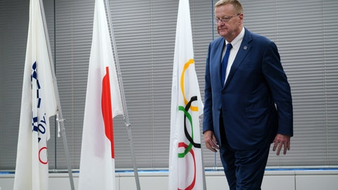 <p>               John Coates, chairman of the IOC Coordination Commission for the 2020 Tokyo Olympics and Paralympics leaves from the venue of the IOC and Tokyo 2020 joint press conference Wednesday, Sept. 12, 2018. (AP Photo/Eugene Hoshiko)             </p>