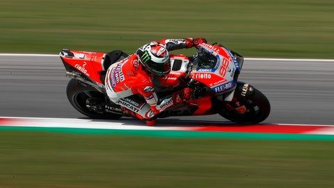 <p>               Spain's Jorge Lorenzo rides his Ducati during the fourth practice session of the San Marino Motorcycle Grand Prix at the Misano circuit in Misano Adriatico, Italy, Saturday, Sept. 8, 2018. (AP Photo/Antonio Calanni)             </p>