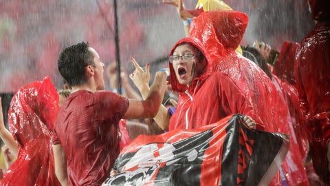 <p>               Fans at Memorial Stadium dance to music during a lightning and rain delay in the first half of an NCAA college football game between Nebraska and Akron in Lincoln, Neb., Saturday, Sept. 1, 2018. (AP Photo/Nati Harnik)             </p>