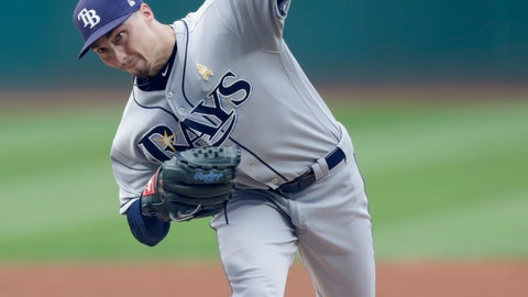 <p>               Tampa Bay Rays starting pitcher Blake Snell delivers in the first inning of a baseball game against the Cleveland Indians, Saturday, Sept. 1, 2018, in Cleveland. (AP Photo/Tony Dejak)             </p>