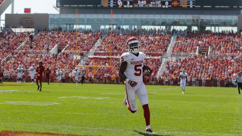 <p>               Oklahoma wide receiver Marquise Brown runs in for a touchdown during the first half of an NCAA college football game against Iowa State, Saturday, Sept. 15, 2018, in Ames, Iowa. (AP Photo/Matthew Putney)             </p>