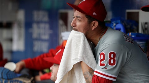 <p>               Philadelphia Phillies pitcher Vince Velasquez sits in the dugout after being relieved in the fifth inning of a baseball game against the New York Mets, Sunday, Sept. 9, 2018, in New York. (AP Photo/Mark Lennihan)             </p>