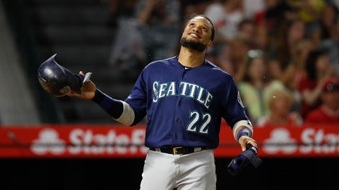 <p>               Seattle Mariners' Robinson Cano smiles after the top of the eighth inning of a baseball game against the Los Angeles Angels, Saturday, Sept. 15, 2018, in Anaheim, Calif. Cano hit a three-run double in the eighth inning. (AP Photo/Jae C. Hong)             </p>