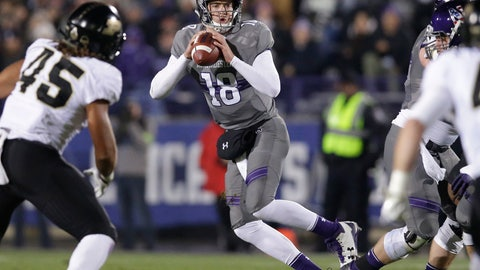 <p>               FILE - In this Nov. 11, 2017, file photo, Northwestern quarterback Clayton Thorson (18) looks to pass against Purdue during the first half of an NCAA college football game in Evanston, Ill. Duke plays at Northwestern this week. Thorson got sacked four times and threw two interceptions when the two teams played last season. (AP Photo/Nam Y. Huh, File)             </p>