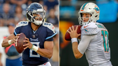 <p>               FILE - At left, in an Aug. 18, 2018, file photo, Tennessee Titans quarterback Marcus Mariota plays against the Tampa Bay Buccaneers in the first half of a preseason NFL football game, in Nashville, Tenn.At right, in an Aug. 17, 2018, file photo, Miami Dolphins quarterback Ryan Tannehill warms up before a preseason NFL football game against the Carolina Panthers, in Charlotte, N.C. After missing last season with a knee injury, Ryan Tannehill returns for the Miami Dolphins' season opener against the Tennessee Titans, who hope to embark on another playoff run under new coach Mike Vrabel. (AP Photo/File)             </p>