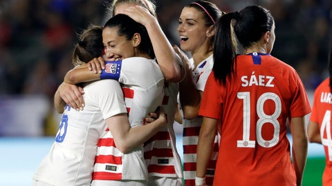 <p>               United States' Christen Press, second from left, is hugged by teammates after scoring on a penalty kick against Chile during the first half of an international friendly soccer match Friday, Aug. 31, 2018, in Carson, Calif. (AP Photo/Marcio Jose Sanchez)             </p>