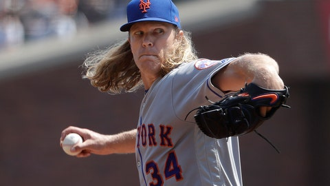 <p>               New York Mets pitcher Noah Syndergaard (34) throws against the San Francisco Giants during the second inning of a baseball game in San Francisco, Sunday, Sept. 2, 2018. (AP Photo/Jeff Chiu)             </p>