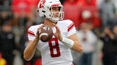 <p>               Rutgers quarterback Artur Sitkowski drops back to pass against Ohio State during the first half of an NCAA college football game Saturday, Sept. 8, 2018, in Columbus, Ohio. (AP Photo/Jay LaPrete)             </p>