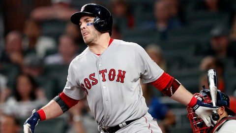 <p>               Boston Red Sox's Steve Pearce watches his RBI single in the fifth inning of baseball game against the Atlanta Braves on Tuesday, Sept. 4, 2018, in Atlanta. (AP Photo/John Bazemore)             </p>