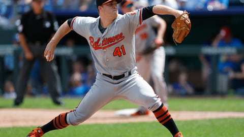 <p>               Baltimore Orioles pitcher David Hess throws to a Kansas City Royals batter in the first inning of a baseball game at Kauffman Stadium in Kansas City, Mo., Sunday, Sept. 2, 2018. (AP Photo/Colin E. Braley)             </p>