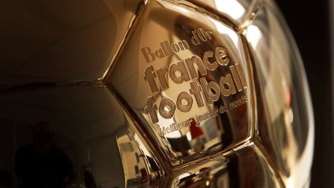 <p>               The Golden Ball is pictured in Boulogne-Billancourt, outside Paris, Friday, Sept. 21, 2018.  A woman will lift the most prestigious individual trophy in soccer for the first time this year. Awarded every year by France Football magazine since Stanley Matthews won it in 1956, the Ballon d'Or for the best player of the year will be given to both a woman and a man on Dec. 3 in Paris. (AP Photo/Christophe Ena)             </p>