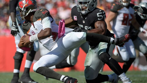 <p>               FILE - In this Oct. 30, 2016, file photo, Oakland Raiders defensive end Khalil Mack (52) sacks Tampa Bay Buccaneers quarterback Jameis Winston (3) during the second half of an NFL football game in Tampa, Fla. The Chicago Bears have acquired star pass rusher Khalil Mack from the Raiders on Saturday, Sept. 1, 2018, in a massive trade that sends two first-round draft picks to Oakland. A person with direct knowledge of the trade told The Associated Press that Oakland will get first-round selections in 2019 and 2020, a sixth-rounder next year and a third-rounder in 2020. Oakland also included its second-round selection in 2020. The person spoke on condition of anonymity because the trade had not been announced.   (AP Photo/Phelan M. Ebenhack, File)             </p>
