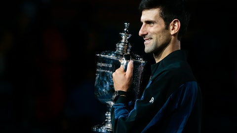 <p>               Novak Djokovic, of Serbia, holds the championship trophy after defeating Juan Martin del Potro, of Argentina, in the men's final of the U.S. Open tennis tournament, Sunday, Sept. 9, 2018, in New York. (AP Photo/Andres Kudacki)             </p>