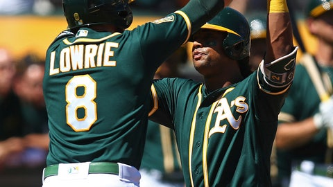<p>               Oakland Athletics' Khris Davis, right, celebrates with Jed Lowrie (8) after hitting a two-run home run off Texas Rangers' Yohander Mendez in the first inning of a baseball game Saturday, Sept. 8, 2018, in Oakland, Calif. (AP Photo/Ben Margot)             </p>