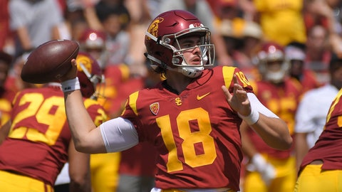 <p>               Southern California quarterback Jt Daniels passes during the first half of an NCAA college football game against UNLV , Saturday, Sept. 1, 2018, in Los Angeles. (AP Photo/Mark J. Terrill)             </p>
