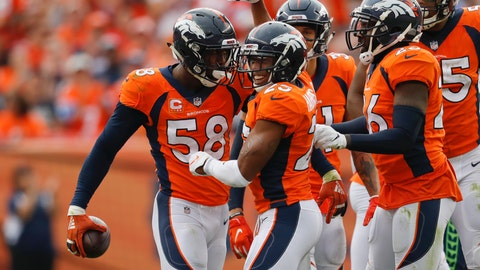<p>               Denver Broncos linebacker Von Miller (58) reacts with teammates after grabbing a turnover during the second half of an NFL football game against the Seattle Seahawks Sunday, Sept. 9, 2018, in Denver. (AP Photo/David Zalubowski)             </p>