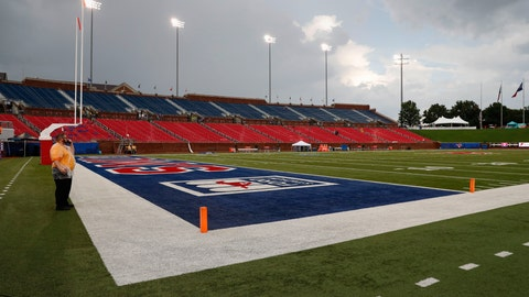 <p>               A security guard stands on the field during an inclement weather delay before an NCAA college football game between TCU and SMU, Friday, Sept. 7, 2018, in Dallas. (AP Photo/Jim Cowsert)             </p>