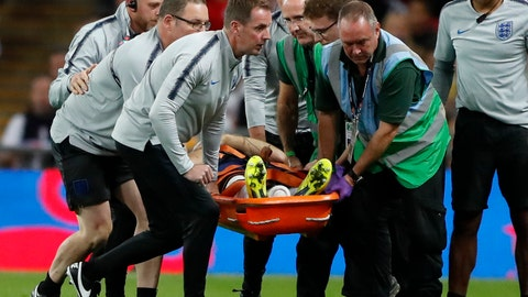 <p>               England's Luke Shaw is carried off the pitch on a stretcher after he injured himself during the UEFA Nations League soccer match between England and Spain at Wembley stadium in London, Saturday Sept. 8, 2018. (AP Photo/Frank Augstein)             </p>