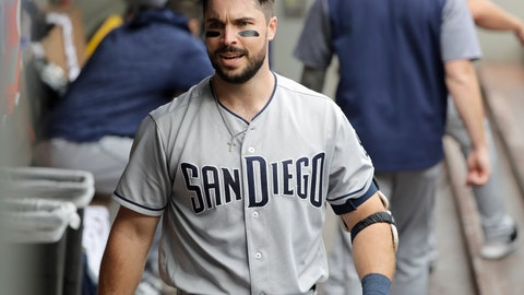 <p>               San Diego Padres' Austin Hedges walks in the dugout after he hit a two-run home run to score Eric Hosmer during the second inning of a baseball game against the Seattle Mariners, Wednesday, Sept. 12, 2018, in Seattle. (AP Photo/Ted S. Warren)             </p>