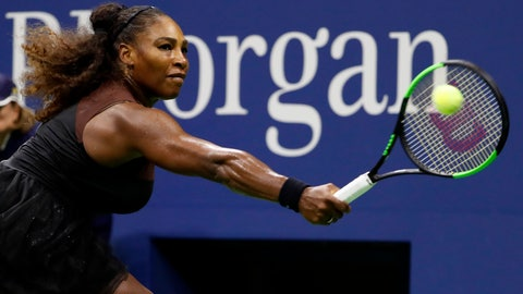 <p>               Serena Williams hits a backhand to Venus Williams during the third round of the U.S. Open tennis tournament Friday, Aug. 31, 2018, in New York. (AP Photo/Adam Hunger)             </p>