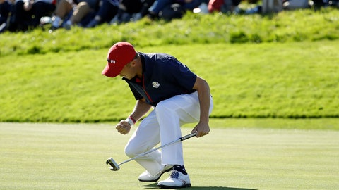 <p>               Justin Thomas of the US celebrates after winning the 8th hole during a singles match on the final day of the 42nd Ryder Cup at Le Golf National in Saint-Quentin-en-Yvelines, outside Paris, France, Sunday, Sept. 30, 2018. (AP Photo/Matt Dunham)             </p>