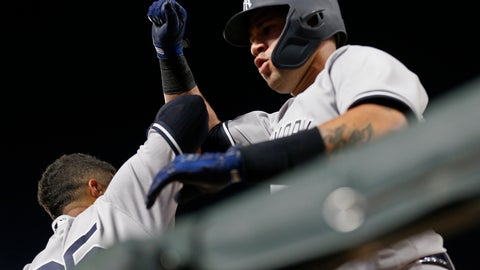 <p>               New York Yankees' Gary Sanchez, right, celebrates his solo home run off Minnesota Twins pitcher Kyle Gibson with Gleyber Torres in the dugout during the sixth inning of a baseball game Monday, Sept. 10, 2018, in Minneapolis. (AP Photo/Jim Mone)             </p>