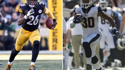 <p>               FILE - At left, in a Jan. 14, 2018, file photo, Pittsburgh Steelers running back Le'Veon Bell (26) plays in an NFL football game against the Jacksonville Jaguars, in Pittsburgh. At right, in a Sept. 16, 2018, file photo, Los Angeles Rams running back Todd Gurley runs against the Arizona Cardinals during the first half of an NFL football game, in Los Angeles. Todd Gurley of the Los Angeles Rams is the best running back in the league, as ranked by a panel of Associated Press NFL writers. Le'Veon Bell, though he has yet to sign his contract with the Pittsburgh Steelers this season, comes in second. (AP Photo/File)             </p>
