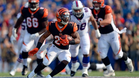 <p>               FILE - In this Aug. 26, 2018, file photo, Cincinnati Bengals running back Giovani Bernard (25) rushes during the first half of a preseason NFL football game against the Buffalo Bills in Orchard Park, N.Y. Bernard is expected to start against an Atlanta defense that has been unable to cover running backs as receivers out of the backfield for two straight weeks. (AP Photo/Adrian Kraus, File)             </p>