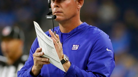 <p>               FILE - In this Aug. 17, 2018, file photo, New York Giants head coach Pat Shurmur watches during the first half of an NFL preseason football game against the Detroit Lions, in Detroit.  The old and new will be crossing paths at MetLife Stadium when the Jacksonville Jaguars open the season against the New York Giants. The game will be the first for Jaguars executive vice president of football operations Tom Coughlin against the Giants, the team he led to two Super Bowl titles before resigning in January 2016 after a dozen seasons as coach. It also was be Pat Shurmur's first regular-season NFL game as coach of the Giants, a team that has made the playoffs once (2016) since winning the Super Bowl in February 2012.(AP Photo/Paul Sancya, File)             </p>