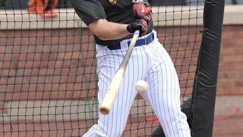 <p>               New York Mets' David Wright bats during a simulated baseball game Saturday, Sept. 8, 2018, in New York. (AP Photo/Bill Kostroun)             </p>