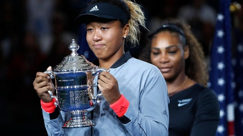 <p>               Naomi Osaka, of Japan, holds the trophy after defeating Serena Williams in the women's final of the U.S. Open tennis tournament, Saturday, Sept. 8, 2018, in New York. (AP Photo/Adam Hunger)             </p>