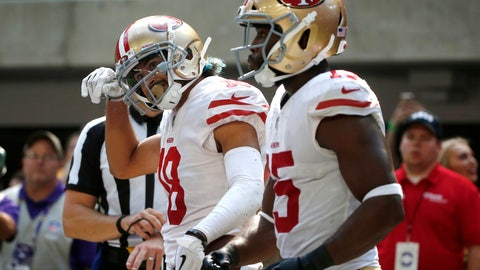 <p>               San Francisco 49ers wide receiver Dante Pettis, left, celebrates with teammate Pierre Garcon, right, after catching a 22-yard touchdown pass during the second half of an NFL football game against the Minnesota Vikings, Sunday, Sept. 9, 2018, in Minneapolis. (AP Photo/Bruce Kluckhohn)             </p>