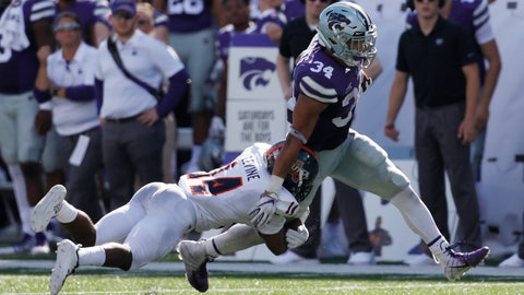 <p>               Kansas State running back Alex Barnes (34) rushes for yardage as UTSA safety C.J. Levine (14) defends during the second quarter of a college football game in Manhattan, Kan., Saturday, Sept. 15, 2018. (AP Photo/Colin E. Braley)             </p>