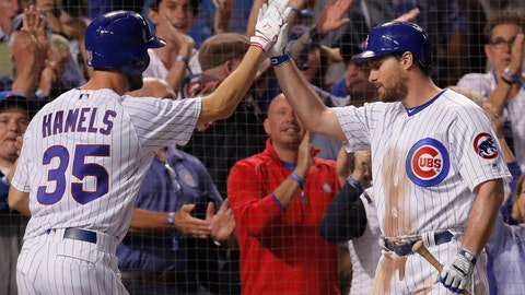 <p>               Chicago Cubs' Cole Hamels, left, celebrates his home run against the Pittsburgh Pirates wit teammate Daniel Murphy during the third inning of a baseball game Monday, Sept. 24, 2018, in Chicago. (AP Photo/Jim Young)             </p>
