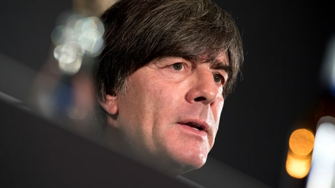 <p>               Joachim Loew, head coach of the men's German national soccer team, addresses the media during a press conference in Munich Germany, Sept. 5, 2018. Germany will face the team of France for a UEFA Nations Cup match im Munich on Thursday, Sept. 6, 2018. (Sven Hoppe/dpa via AP)             </p>