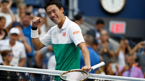 <p>               Kei Nishikori, of Japan, celebrates after defeating Marin Cilic, of Croatia, during the quarterfinals of the U.S. Open tennis tournament, Wednesday, Sept. 5, 2018, in New York. (AP Photo/Adam Hunger)             </p>