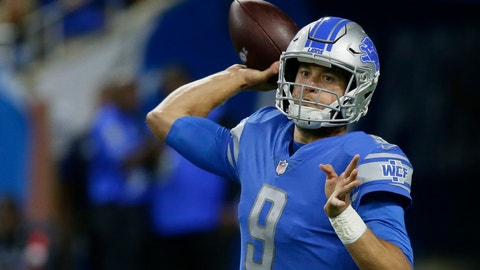 <p>               Detroit Lions quarterback Matthew Stafford throws during the first half of an NFL football game against the New England Patriots, Sunday, Sept. 23, 2018, in Detroit. (AP Photo/Duane Burleson)             </p>
