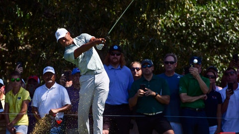 <p>               Tiger Woods tees off to the third hole during the second round of the Tour Championship golf tournament Friday, Sept. 21, 2018, in Atlanta. (AP Photo/John Amis)             </p>