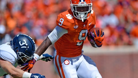 <p>               Clemson's Travis Etienne breaks away from Georgia Southern's Lane Ecton during the first half of an NCAA college football game Saturday, Sept. 15, 2018, in Clemson, S.C. (AP Photo/Richard Shiro)             </p>