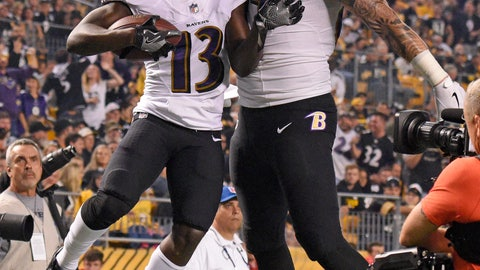 <p>               Baltimore Ravens wide receiver John Brown (13) celebrates with Maxx Williams after a 33 yard touchdown reception in the first half of an NFL football game against the Pittsburgh Steelers in Pittsburgh, Sunday, Sept. 30, 2018. (AP Photo/Don Wright)             </p>