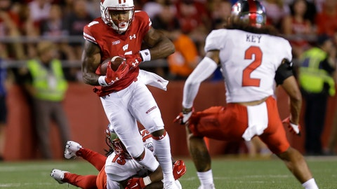 <p>               FILE - In this Aug. 31, 2018 file photo, Wisconsin wide receiver A.J. Taylor, left, makes a reception between Western Kentucky's Ta'Corian Darden and Devon Key (2) during the first half of an NCAA college football game in Madison, Wis. Taylor is off to a fast start for the sixth-ranked Wisconsin Badgers as they get ready to play BYU this weekend. Taylor had a career-high 134 yards with a touchdown on five catches last week against New Mexico. He has carried the load at the wideout position at a time when the receiving corps was thinned out by suspensions to Quintez Cephus and Danny Davis.   (AP Photo/Andy Manis, File)             </p>