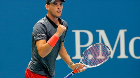 <p>               Dominic Thiem, of Austria, reacts after winning a point against Kevin Anderson, of South Africa, during the fourth round of the U.S. Open tennis tournament, Sunday, Sept. 2, 2018, in New York. (AP Photo/Andres Kudacki)             </p>