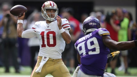 <p>               FILE - In this Sunday, Sept. 9, 2018, file photo, San Francisco 49ers quarterback Jimmy Garoppolo throws a pass over Minnesota Vikings defensive end Danielle Hunter (99) during the second half of an NFL football game, in Minneapolis. Garoppolo leads the 49ers against the Detroit Lions in Week 2 of the NFL football season. (AP Photo/Jim Mone, File)             </p>