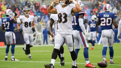<p>               Baltimore Ravens wide receiver Willie Snead (83) celebrates his touchdown during the second half of an NFL football game against the Buffalo Bills, Sunday, Sept. 9, 2018, in Baltimore. (AP Photo/Nick Wass)             </p>