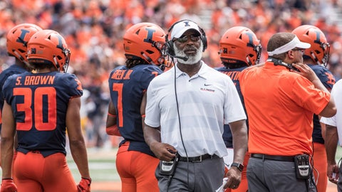 <p>               FILE - In this Sept. 1, 2018, file photo, Illinois coach Lovie Smith stands near players and coaching staff during the team's NCAA college football game against Kent State in Champaign, Ill. (AP Photo/Holly Hart, File)             </p>