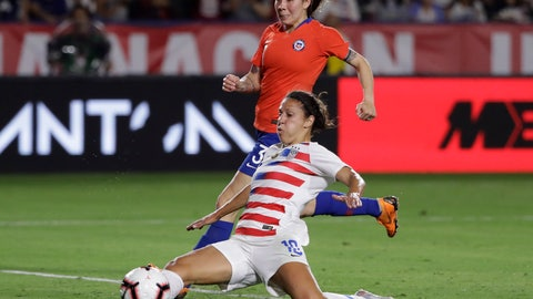 <p>               United States' Carli Lloyd, bottom, reaches for a crossed ball as Chile's Carla Guerrero, top, defends during the second half of an international friendly soccer match Friday, Aug. 31, 2018, in Carson, Calif. (AP Photo/Marcio Jose Sanchez)             </p>