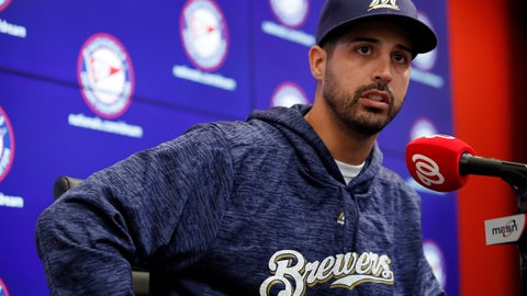 <p>               Milwaukee Brewers pitcher Gio Gonzalez speaks during a media availability after he was recently acquired in a trade with the Washington Nationals at Nationals Park, Friday, Aug. 31, 2018, in Washington. (AP Photo/Alex Brandon)             </p>