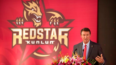 "<p>               Former NHL hockey player Wayne Gretzky speaks during a promotional event for the Beijing Kunlun Red Star hockey team in his role as global ambassador for the team, part of the Russia-based Kontinental Hockey League, in Beijing, Thursday, Sept. 13, 2018. Gretzky says the NHL should again allow its players to compete in the Winter Olympics because sending the world's top hockey players is ""always much better for everyone."" (AP Photo/Mark Schiefelbein)             </p>"