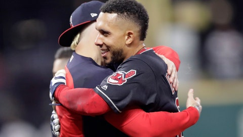 <p>               Cleveland Indians' Michael Brantley, right, hugs a teammate after hitting a winning RBI-single in the 11th inning of a baseball game against the Boston Red Sox, Saturday, Sept. 22, 2018, in Cleveland. (AP Photo/Tony Dejak)             </p>